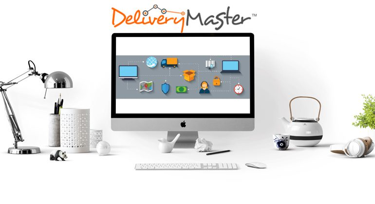 Technology devices Desktop Computer and office desk with Delivery Master Courier Software Logo