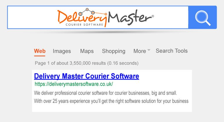 internet search box highlighting details for Delivery Master Courier Software