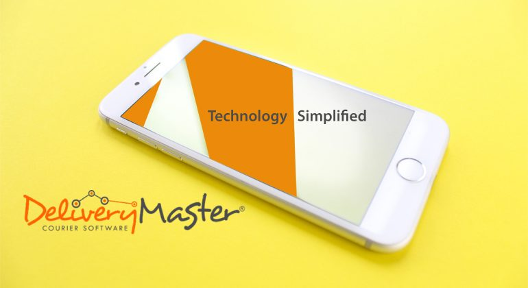 mobile phone on yellow surface with Delivery Master Courier Software brand logo