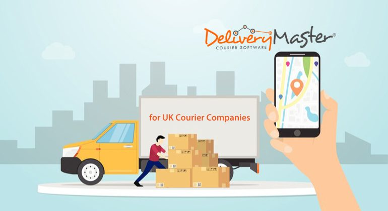 courier tracking system with delivery truck and gps positioning on UK street map