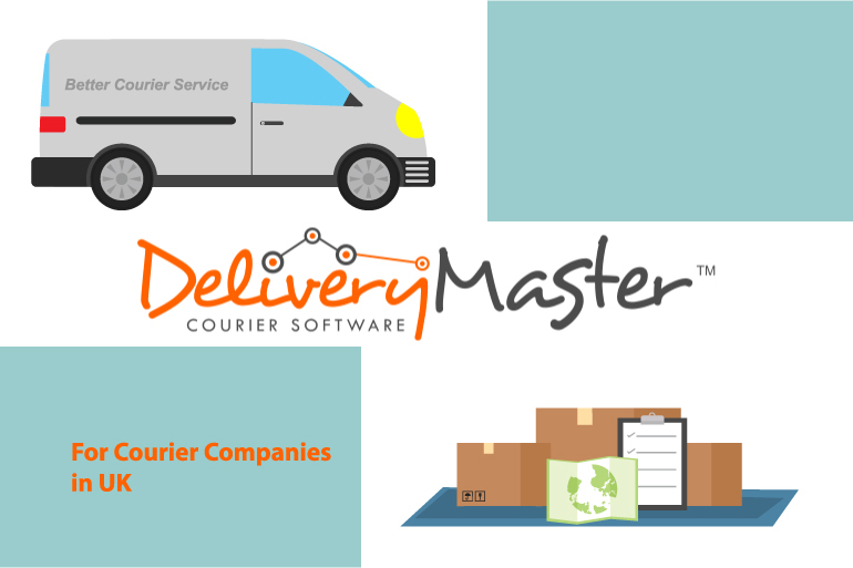 courier van and cardboard boxes
