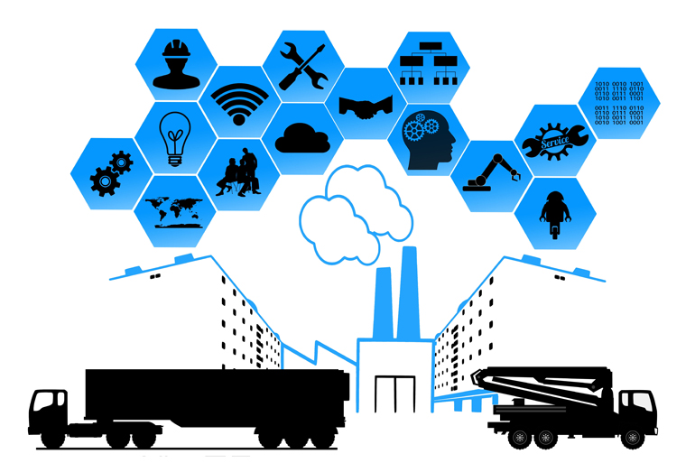 illustration of trucks and icons used in logistics industry