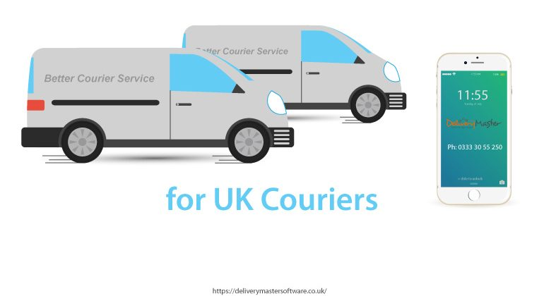 illustration of courier vans and smartphone