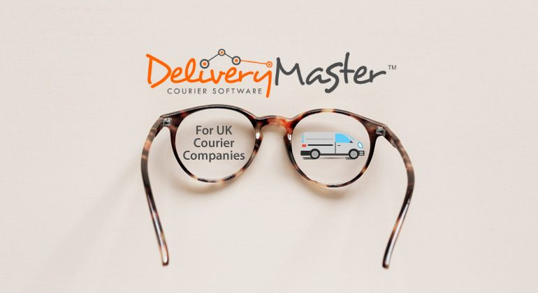 reading glasses and an illustration of a courier van