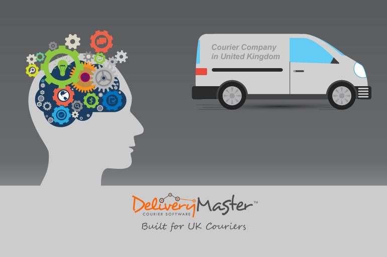 brainstorming concept and a courier van illustration built for UK couriers
