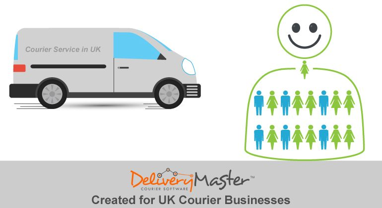 Courier Service Van and People Icon
