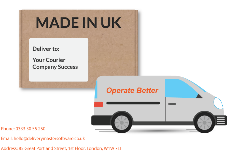 delivery package and courier van illustration with our contact details