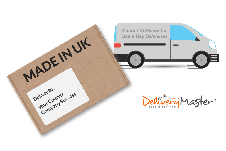 delivery package box and courier van