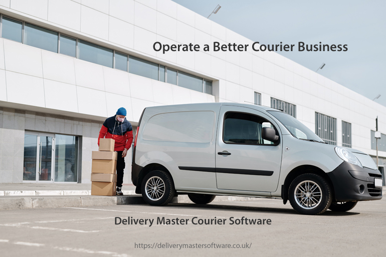 courier driver loading package next to his delivery vehicle