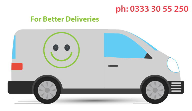 courier van illustration with smiley symbol