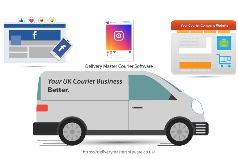 social media icons and a van illustration
