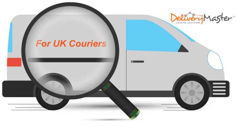 magnifying glass and courier vehicle