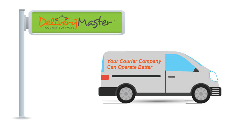 street name sign and courier delivery van