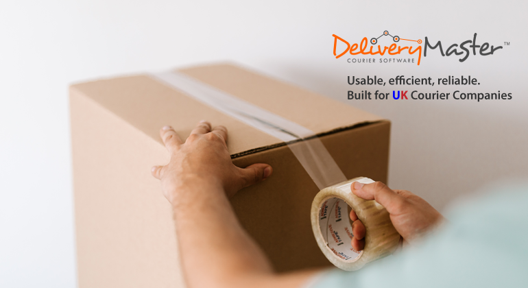 man packing parcel box