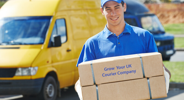 Male Courier Driver Holding Parcel Box