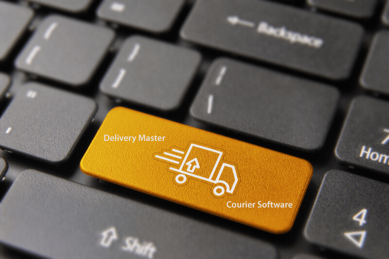 computer keyboard with Enter Key featuring courier van illustration