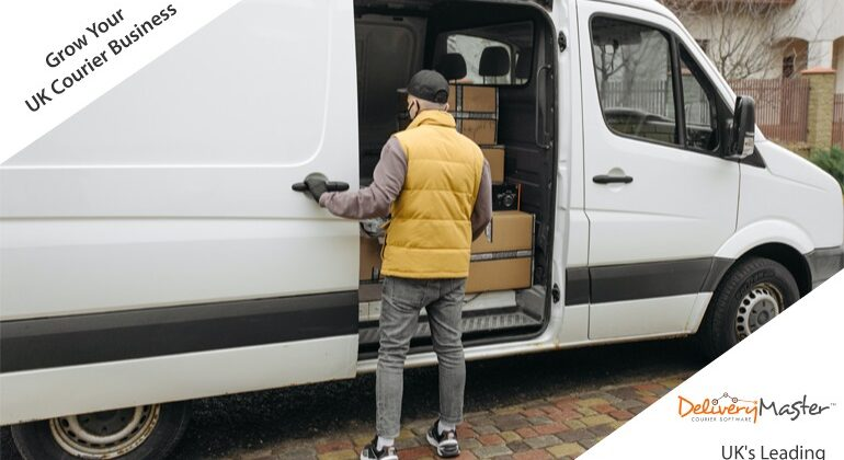 owner driver standing next to his courier vehicle